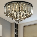 Round LED Flush Mount Light Contemporary Smoke Gray Crystal Ceiling Lamp for Office Study Room