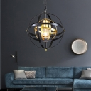 Country Style Spherical Pendant Light with Chain 1 Light Black and Gold Pendant Lamp