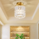 Gold Cylinder Flush Ceiling Light Modern Elegant Gold Clear Crystal LED Ceiling Lamp for Foyer Hallway
