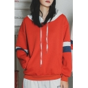 Hot Fashion Colorblocked Stripe Patched Long Sleeve Casual Sports Loose Fit Unisex Drawstring Hoodie