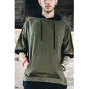 Mens Popular Fashion Simple Plain Half Sleeve Casual Loose Fit Sports Hoodie