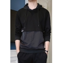 Mens New Fashion Letter Embroidery Detail Long Sleeve Drawstring Hoodie