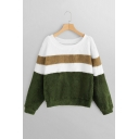 Popular Color Block Round Neck Long Sleeves Green Fluffy Teddy Sweatshirt