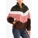 Womens Winter Warm Color Block Long Sleeve Pocket Faux Fur Teddy Zip Up Hoodie
