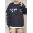 Mens New Fashion Letter 07 Figure Printed Fake Two-Piece Long Sleeve Round Neck Casual Pullover Sweatshirt