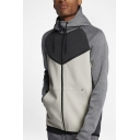 Men's Hot Fashion Colorblock  Print Long Sleeve Sports Drawstring Hoodie