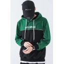 Mens Chic Letter Embroidered Black and Green Colorblocked Long Sleeve Casual Loose Fit Pullover Hoodie