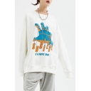 Men's New Stylish Hand Letter Printed Long Sleeve Casual Loose Pullover Sweatshirt