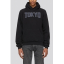 Trendy Tokyo Letter Koi Fish Printed Long Sleeve Casual Sports Unisex Pullover Hoodie