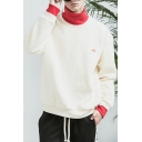 Mens Popular Colorblock Patched High Neck Fake Two-Piece Long Sleeve Casual Pullover Hoodie