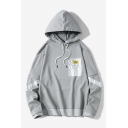 New Trendy Contrast Pocket Designed Long Sleeve Casual Sports Drawstring Hoodie for Men