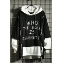 New Stylish Letter WHO THE EOCK IS CHANET Print Long Sleeve Loose Hip Hop Style Pullover Hoodie