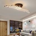 Tube Flush Mount Light Contemporary Silica Gel LED Flush Ceiling Light in Brown