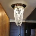 Modern Design Waterfall Flush Light Crystal Flush Mount Light Fixture for Restaurant