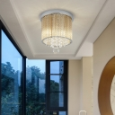 Glass Strip Flush Mount Light Contemporary Crystal Metal Cylinder Flushmount Ceiling Fixture for Balcony