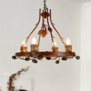 Rustic Round Chandelier with Pinecone 4 Light Wood Hanging Ceiling Light for Living Room