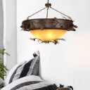 Frosted Glass Bowl Hanging Light with Pinecone Accents Country Style 4 Lights Chandelier in Rufous