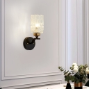 Dining Room Cylinder Wall Light Clear Crystal Metal 1 Light Modern Sconce Lamp in Black