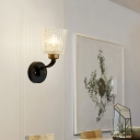 1 Light Drum Wall Light Modern Crystal and Metal Sconce Light in Black for Kitchen Hallway