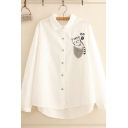 Girls Novelty Cat Single Breasted Lapel Long Sleeve Loose Shirt