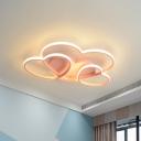 Gold/Pink/White Heart Flush Ceiling Lamp Modern Metal Integrated Led Flush Mount Lighting, 19.5