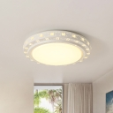 White Round Led Ceiling Flush Light with Crystal Bead Integrated Led Modern Flush Mount Lighting, 16