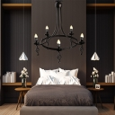 5 Lights Round Chandelier Lamp Traditional Metal Hanging Pendant Light in Black
