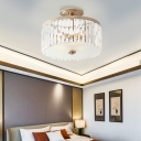 3 Lights Drum Semi Flush Mount Lamp Clear Faceted Crystal Modern Semi Flush Light in Gold