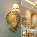 Gold Peacock Wall Mounted Light with White Fabric Shade Single Light Country Style Wall Lamp