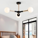 Nordic Branch Pendant Lighting Wood and Metal 3/6/9 Lights Black/Gold/White Hanging Chandelier for Living Room