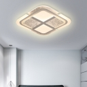 Modern Square Ceiling Light with Mosaic Design Acrylic Led Bedroom Flush Ceiling Light in Warm/White, 16