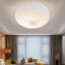 White Acrylic Flush Lighting with Dome Shade Integrated 21