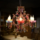 Bohemia Candle Chandelier Metal and Beaded Strand 6 Lights Decorative Pendant Lamp in Aged Brass