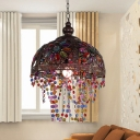 Bronze/Rust Dome Hanging Light with Beaded Strand 1 Light Metal Ceiling Pendant for Living Room