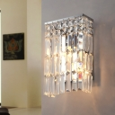 Rectangle Clear Crystal Sconce Lighting 2 Lights Modern Wall Lamp in Chrome Finish