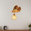 Golden Angel Wall Lighting with Crystal Loft Style 1 Light Metal Dome Wall Sconce for Living Room