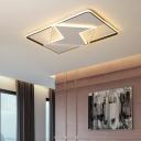 Black and White Geometric Flush Mount Light Nordic LED Ceiling Flush Mount in Warm/White, 16