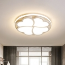 White Clover Ceiling Mounted Light Contemporary Led Flush Lighting with Ring, White Light