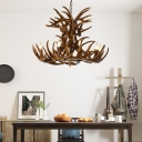 Antlers Pendant Light with Candle Vintage Resin 9 Bulbs Chandelier in Brown for Living Room