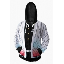 Popular Anime 3D Cosplay Costume Color Block Zipper Long Sleeve Hooded Hoodie