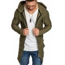 Men Solid Long Sleeve Swallowtail Windbreaker Long Zipper Hoodie