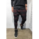 Mens Casual Plaid Pattern Low Crotch Baggy Harem Pants