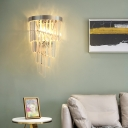 Clear Crystal Chandelier Wall Lamp Contemporary 2 Heads Living Room Sconce in Chrome