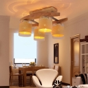 Cylindrical Glass Shade Semi Flush Light Modern 4 Bulbs Dining Table Semi-Flush Ceiling Light in Wood