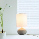 White Cylinder Table Light with Cement Lamp Base 1 Light Loft Style Indoor Lighting for Bedside