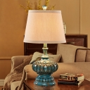 Tapered Cone Table Light with Resin Urn Base Loft Village 1 Head Fabric Standing Table Light in Aqua