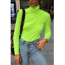 Plain High Collar Long Sleeve Rib Knitted Slim Fit Tee Top