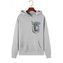 Lovely Koala Animal Pattern Long Sleeve Hooded Fleece Hoodie