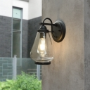 Vintage Industrial Teardrop Wall Sconce Lighting Fixture Pure Glass 1 Head Black Backplate Sconce Light for Porch