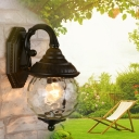 Water Glass Globe Wall Sconce Lighting Rustic 1 Head Wall Sconce in Black for Outdoor